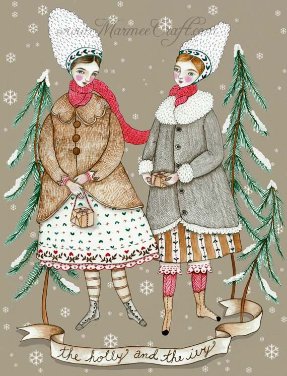 """Victorian Christmas art print, """"The Holly and the Ivy"""""""