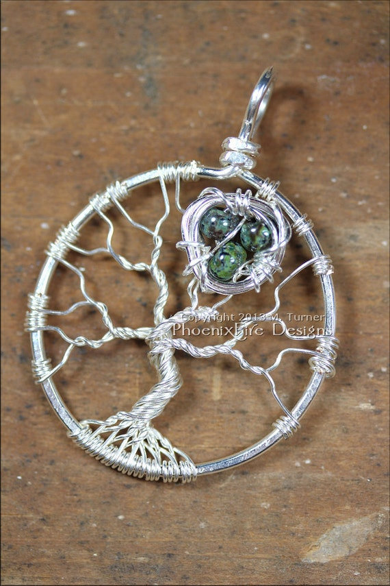 Bird Nest In Tree Of Life Pendant Sterling Silver Wire