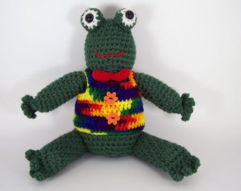 Crochet Frog amigurumi Stuffed Frog Plush -  Franklin Crocheted Frog