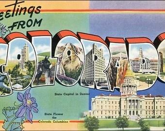 Colorado Fabric Applique, Retro Colorado Quilt Block, retro Colorado Crazy Quilt Panel, Art Quilting, Sewing, Craft Projects Fabric Block