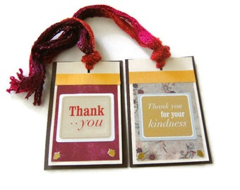 THANK YOU TAGS Hostess Gift Packaging Set of 2 with Fiber Ribbon