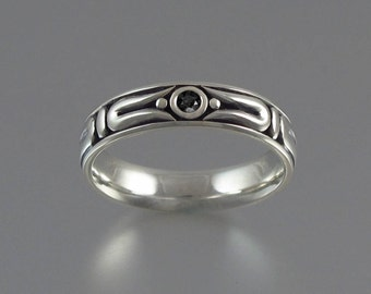 THE SECRET silver wedding band with Black Spinel