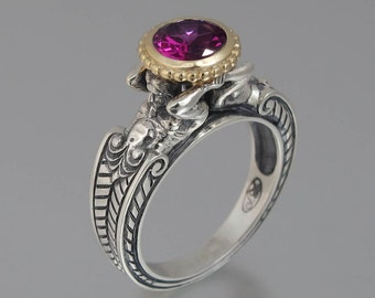 Statement ring CARYATID Ring in Silver and 14K gold with Rhodolite Garnet