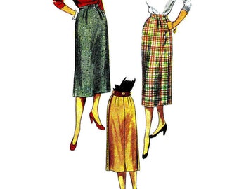 1950s Womens Soft Pleated Skirt Simplicity 3657 Vintage Sewing Pattern Saddle Stitched Skirt Misses Vintage Skirt Pattern Waist 26 Hip 35