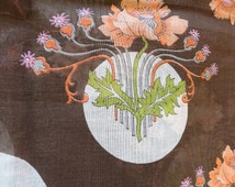 Vintage Semi Sheer Lotus Flower Cotton Batiste Fabric