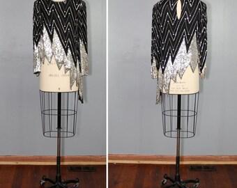 1970s top / sequin blouse / judith ann / WILD NIGHTS asymmetric top