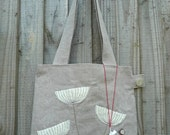 Unique White seed head Linen Tote Bag, with matching purse