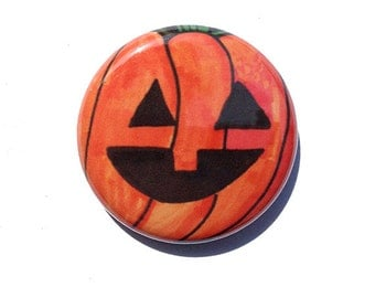 Halloween Pumpkin Pin, Magnet, Pocket Mirror, Keychain or Bookmark - jack o lantern pinback button, fridge magnet, october