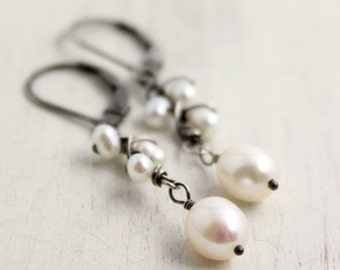 Wrapped Pearl Vine and Buds Earrings Oxidized Silver