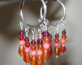 Garnet, Coral & Carnelian Gem Silver Hoop Earrings - Free Shipping