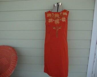 Vintage Pumpkin Orange Embroidered Shift Dress