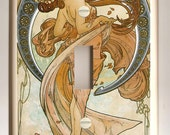 "Alphonse Mucha ""Dance"" Art Nouveau - Single Light Switch Plate - Blue, Tan and Brown"