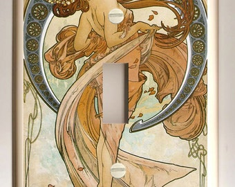 "Alphonse Mucha ""Dance"" Art Nouveau - Single Light Switch Plate - Blue, Tan and Brown"