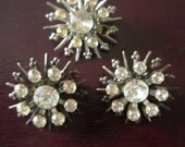 Three Vintage Rhinestone Snowflake Brooches Pins