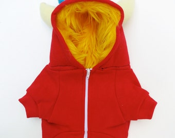 Dog  Monster Hoodie - Red with Yellow - Size Large - Pet - monster hoodie, horned sweatshirt, custom jacket