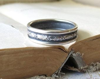 Mens Wedding Ring, Mens Single Band, Sterling Silver Wedding Band, Diamond Pattern Ring, Mens Wide Ring,  mens silver ring
