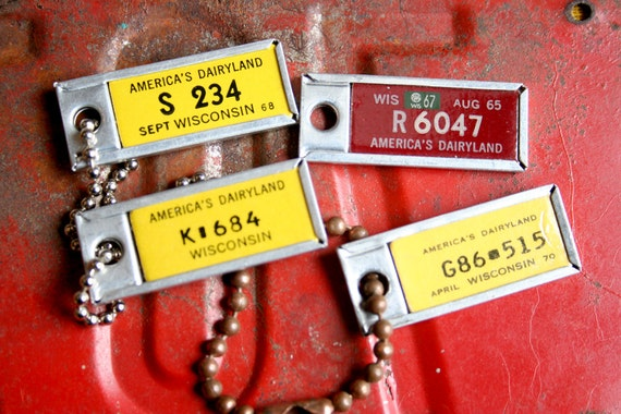 4 Vintage License Plate DAV Tags 1965,1968,1970 Wi Keychain Fob Jewelry Altered Art Mixed Media