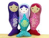 Girls Little Mermaid Applique Cloth Softie Doll for Baby, Toddler, Youth, Tweens - Birthday Gift  - Nautical Style