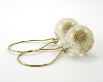 Gold Full Dandelion Earrings, Gold Plated Whole Blowball Earrings, Elegant Resin Jewelry, Christmas Gift