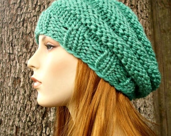 Knit Hat Green Womens Hat - Original Beehive Beret Hat in Spearmint Green Knit Hat - Green Hat Green Beret Green Beanie Womens Accessories