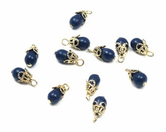 Vintage Japanese Navy Blue Plastic Beaded Charms (24X) (B590)