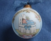 BABY'S FIRST CHRISTMAS Ornament, Baby Boy's Original Handpainted Personalized  Ornament