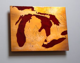 Great Lakes Michigan copper and red art map, 8x10 inches