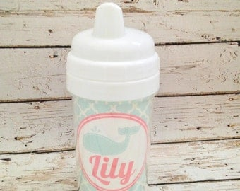 Aqua Whale Girl Sippy Cup | Toddler Sippy Cup
