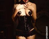 Little Black Dress Burlesque Pasties  Nipple Tassels