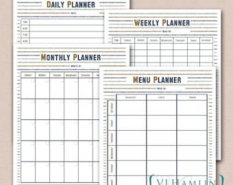 Printable Planner, Set of 4, Rough Stripes, Daily Schedule, Weekly Planner, Monthly Calendar, Menu Planner, Instant Download