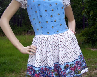 Dirndl Mini Dress Babydoll October Fest Fair Geek Lolita Renaissance Ren Festival White Blue Red Floral Cotton Sissy Adult M L Dress