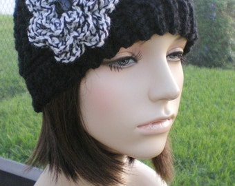 hand crochet Headband Headwrap Earwarmer ear warmer womens accessories wool dreadlock dorag  ~ half hat double yarn ~ black  made to order