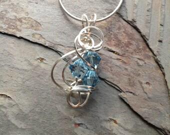 Wire Wrapped March Swarovski Birthstone Necklace