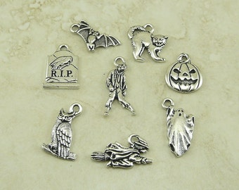 TierraCast Halloween 8 Charm Mix Pack - All Hallows Eve October 31 Trick or Treat - Silver Plated Lead Free Pewter - I ship Internationally