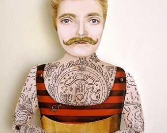 Victorian Tattooed Dude Paper Puppet Doll - Johnny the Boy, Handsome Angler. Unique paper art handmade item, carnival circus strongman theme