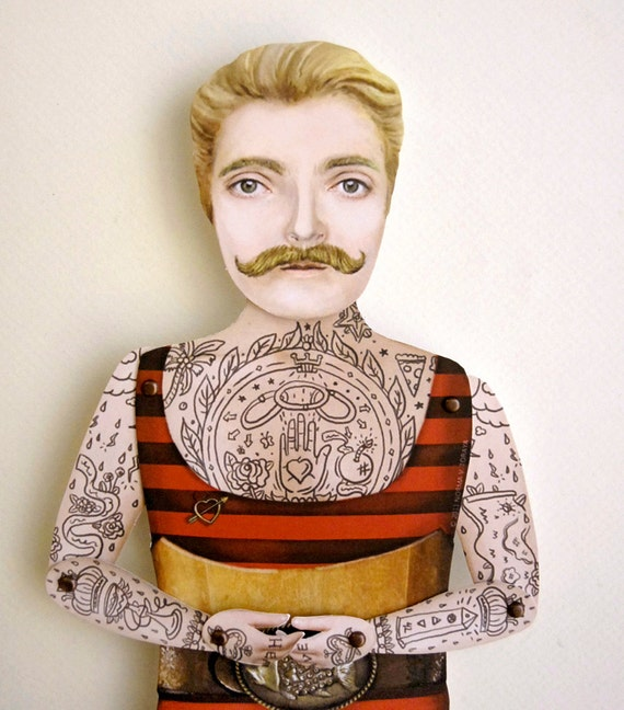 Victorian Tattooed Dude Paper Puppet Doll - Johnny the Boy, Handsome Angler