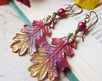 Vibrant Harvest - Hand-painted Leaf Earrings