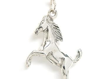 Sterling Silver Horse Stallion Equestrian Charm Pendant no. 1811