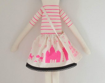 Neon pink I love Paris doll Kit