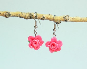 Rose Floral Earrings - 3DD - Hot Pink - Polymer Clay - (DAYSTAR) Katherine Kowalski jewelry