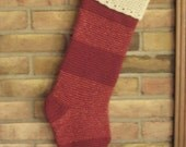 Two Red Vintage Victorian Style Crocheted Striped Glittery Christmas Stockings, Personalized for Allie