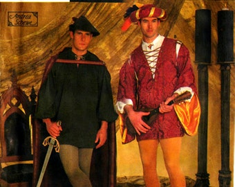 Simplicity 7761 MEN'S Medieval Minstrel Caped Robin Hood Andrea Schewe RENAISSANCE COSTUMES Renaissance Costumes