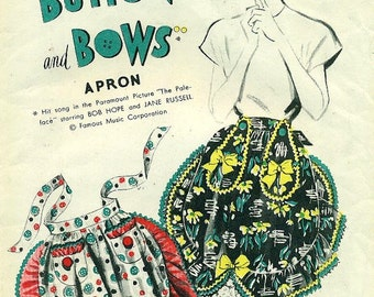 Advance BUTTONS And BOWS APRON 1940s Promotional Sewing Pattern