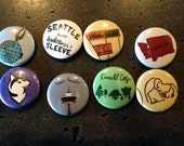 8 Seattle Themed 1 inch Button Pin Set