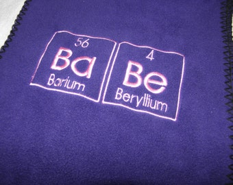 Chemistry BABE Scarf in PURPLE and Pink Science Geek Embroidery - Ready to Ship