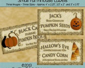 Primitive Halloween Farmhouse Style Printable Labels - Pumpkin, Black Cat, Candy Corn, Jack-O-Lantern Digital PDF or JPG File