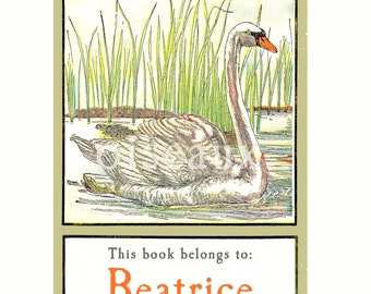 Vintage Personalized Bookplates - Swan - Lovely Teacher Gift, Ornithologist, Bird Lover