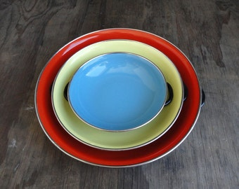 Mid Century Enamel Pan Set - Red Blue and Yellow - Set of 3 - Made in Yugoslavia