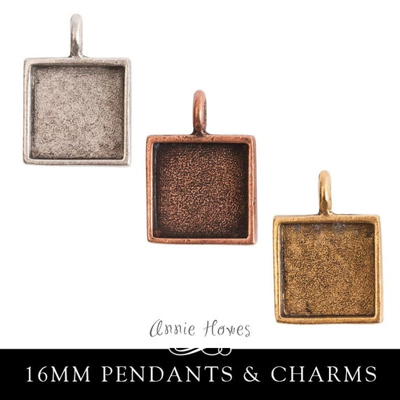 16mm Square Pendant Tray. Antique Silver, Copper, or 24k Gold Plated Plated. Choose your color.