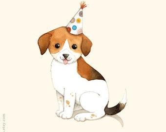 Dog painting, D is for Dog, Beagle puppy, Animal alphabet print, Alphabet poster, Nursery wall art, Kids wall art, wall art for children